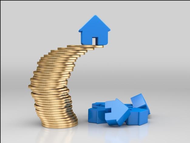 Huis op stapel munten. financieel stabiliteitsconcept. 3d-weergave