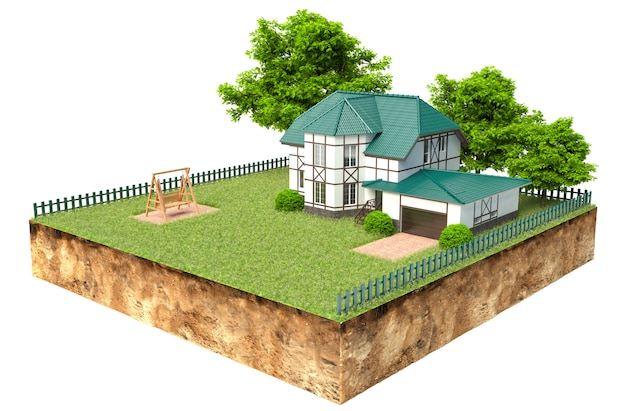 Huis op stukje aarde met tuin en bomen