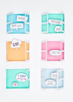 Huis stilleven familie papier gesneden concept