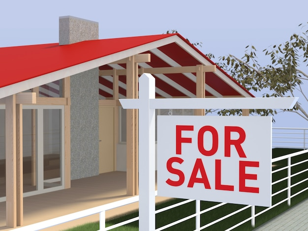 Huis te koop onroerend goed teken en mooi nieuw huis.