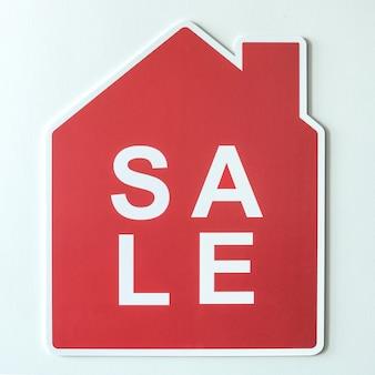 Huis te koop pictogram symbool