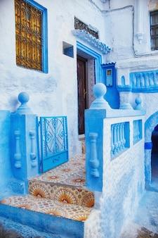 Huis uit de blauwe stad chefchaouen