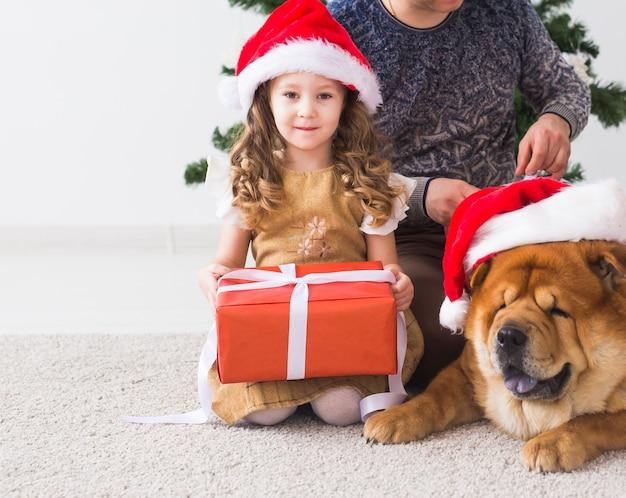 Huisdier, vakantie, kerst en feestelijk concept - familie in kerstmuts met hond zit op de vloer