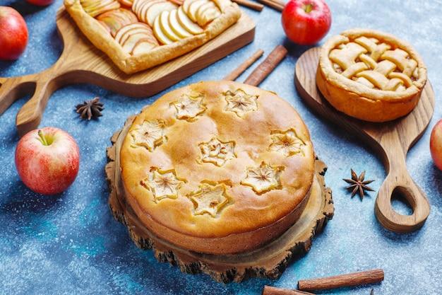 Huisgemaakte appeltaart, cake en galette