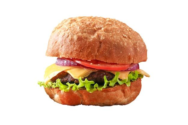 Huisgemaakte hamburger met koteletsalade ui tomaat en kaas cheeseburger burger