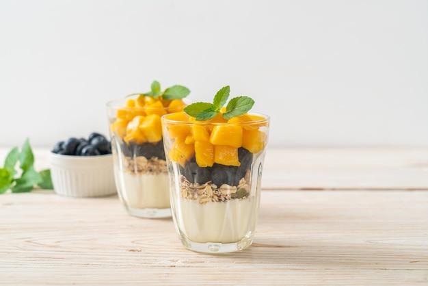 Huisgemaakte verse mango en verse bosbessen met yoghurt en granola