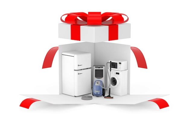 Huishoudelijke apparaten cadeau. huishoudelijke apparaten in geopende verrassing witte geschenkdoos met rood lint en strik op een witte achtergrond. 3d-rendering