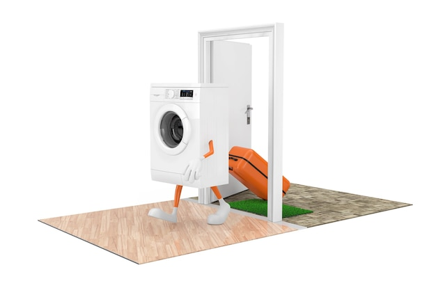 Huishoudelijke apparaten concept kopen. witte moderne wasmachine als karakterpersoon met een koffer komt door de deuren naar het huis op een witte achtergrond. 3d-rendering