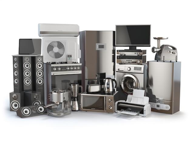 Huishoudelijke apparaten geïsoleerd op wit 3d illustratie
