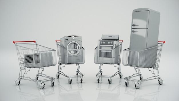 Huishoudelijke apparaten in het winkelwagentje e-commerce of online winkelconcept
