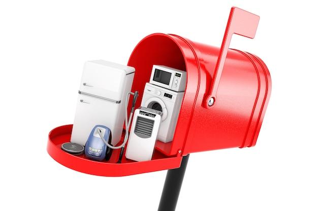 Huishoudelijke apparaten in rode brievenbus op een witte achtergrond. 3d-rendering