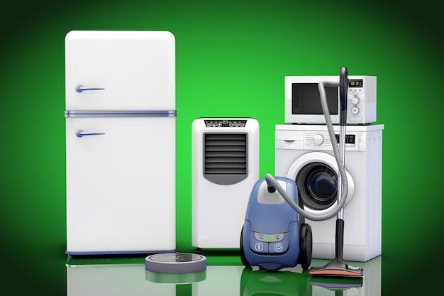 Huishoudelijke apparaten ingesteld op een groene achtergrond. 3d-rendering