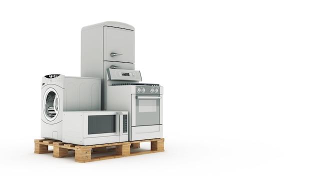 Huishoudelijke apparaten set van huishoudelijke keukentechnieken 3d-rendering