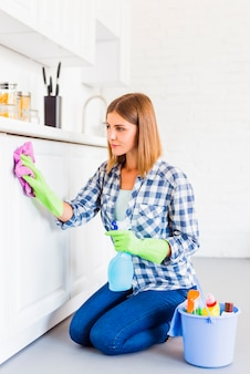 Huishoudenconcept met jonge vrouw