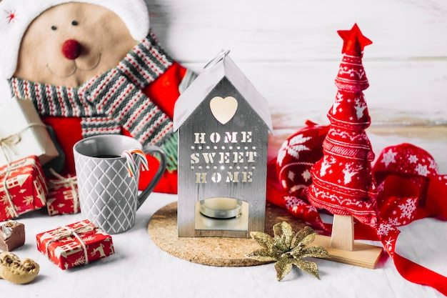 Huiskandelaar met zachte kerstboom