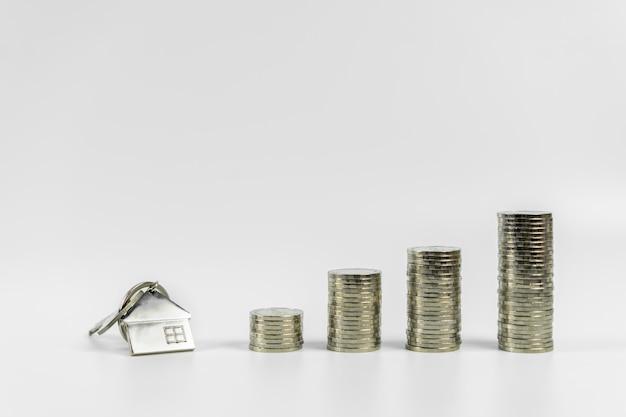 Huismodel en sleutel in huis met rij van muntgeld op witte achtergrond, isoleer, onroerende goederenmarkt, handelgoederen, hypotheekconcepten