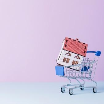 Huismodel in miniatuurboodschappenwagentje