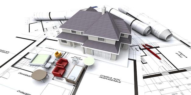 Huismodel op architectenblauwdrukken met opgerolde plannen en miniatuurmeubilair