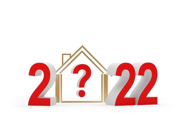 Huispictogram met vraagteken en nieuwjaarsnummer