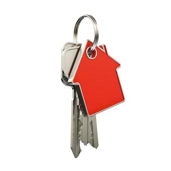 Huissleutels met sleutelhanger in de vorm van een huis, isoleren op een witte achtergrond. 3d-weergave.