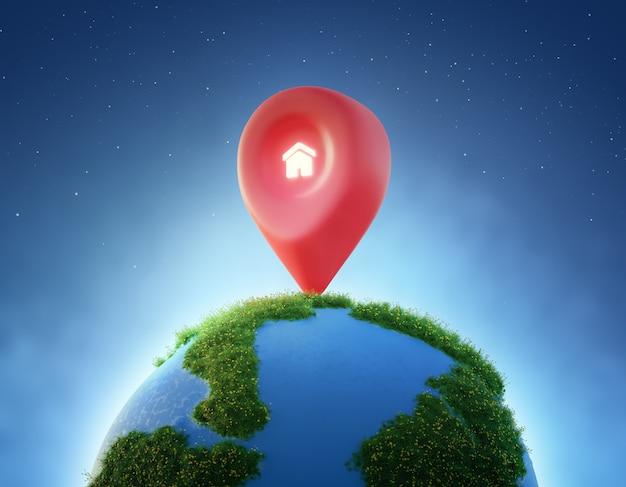 Huissymbool met locatiespeldpictogram op aarde en groen gras in vastgoedinvesteringsconcept