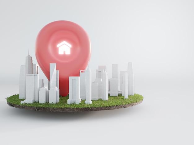 Huissymbool met locatiespeldpictogram op aarde en groen gras