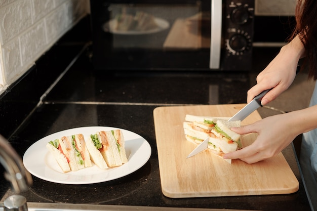 Huisvrouw snijden kip sandwich