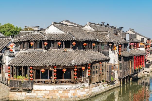Huizen en rivieren in de oude stad xitang