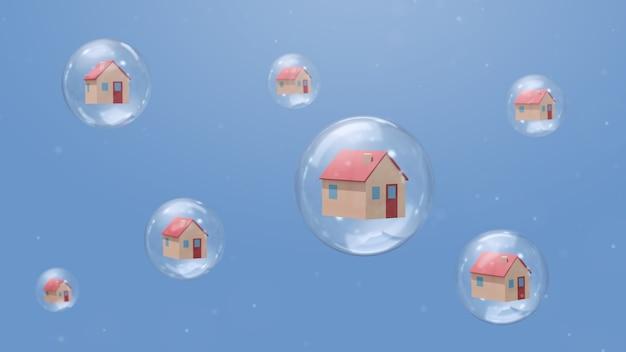 Huizen in bellen. quarantaine concept. abstracte illustratie, 3d-rendering.