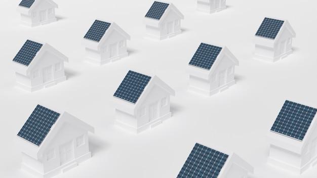 Huizen met zonnepaneel op het dak.