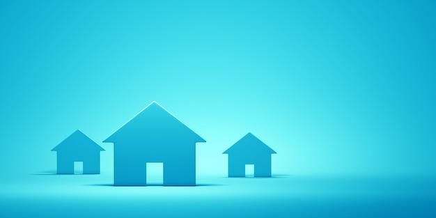 Huizen op de blauwe muur. 3d-afbeelding