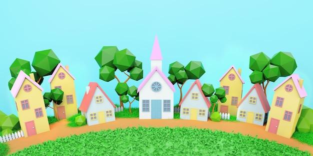Huizen, zonnige zomerdag, speelgoed huizen, 3d render, achtergrond