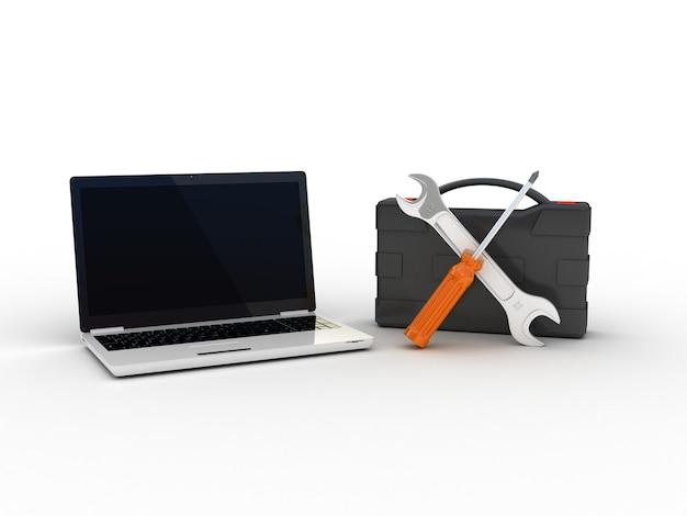 Hulpmiddelen op laptop. 3d illustratie
