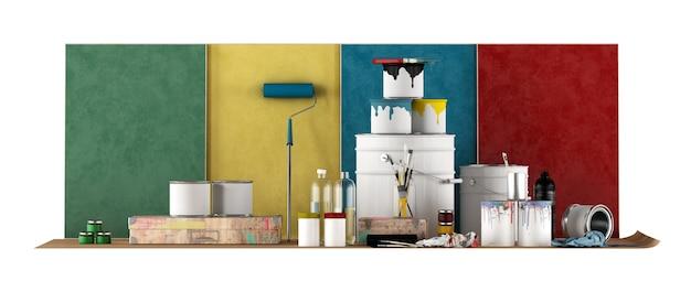 Hulpmiddelen voor geselecteerde kleurstaal om muren te schilderen die op witte achtergrond worden geïsoleerd. 3d-weergave