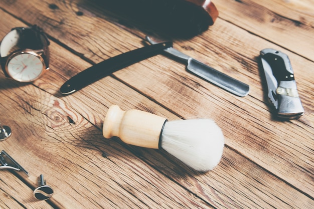 Hulpmiddelen voor het knippen van bovenaanzicht van de baardkapper