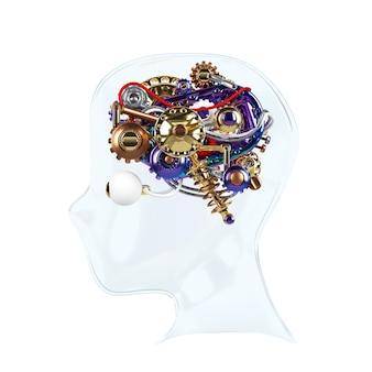 Human machine brain idee model 3d render.