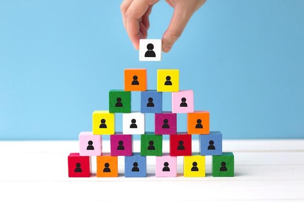 Human resources (hr) en corporate hiërarchie concept. kies een nieuwe leider van teamwork.
