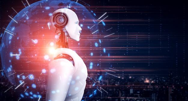 Humanoïde ai-robot die naar het hologramscherm kijkt en het concept van communicatie toont