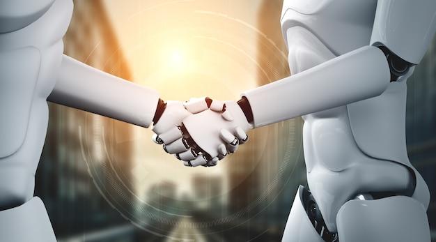 Humanoïde robothanddruk om samen te werken aan toekomstige technologische ontwikkeling door ai-denkers