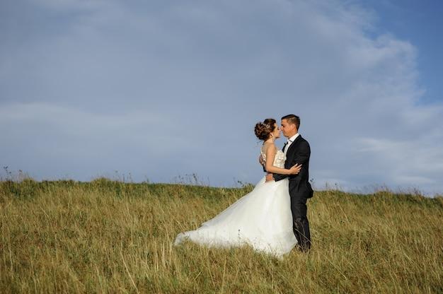 Huwelijksfotografie in de bergen. de bruidegom omhelst de bruid. vrije ruimte.