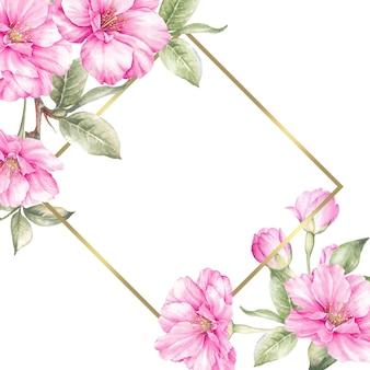 Huwelijkskaart met sakura bloemen.