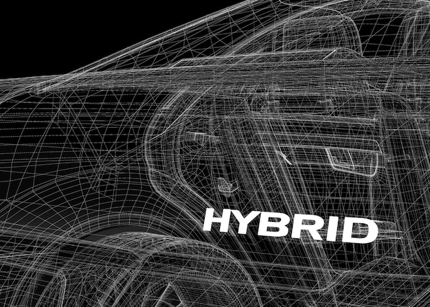Hybride (ar 3d-model carrosseriestructuur, draadmodel)