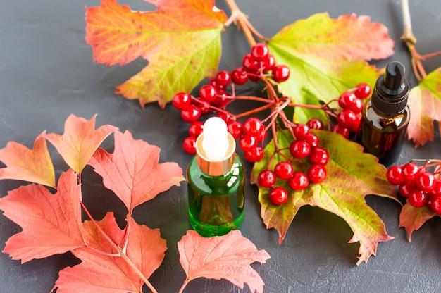 Hydraterende olie van viburnumzaden in cosmetische flessen met een pipet. natuurlijke biologische zelfverzorgingsproducten.