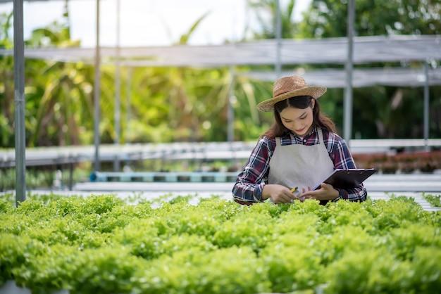 Hydrocultuur groenteboerderij. mooie aziatische boer die hydrocultuur groenteteelt en analyseert. concept het kweken van biologische groenten en natuurvoeding.