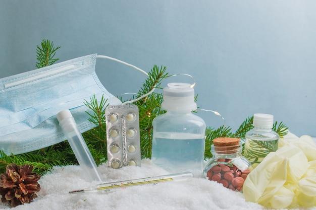 Hygiëne en gezondheidsbenodigdheden op sneeuw