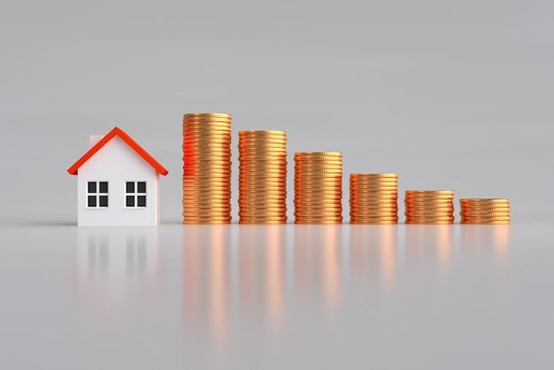 Hypotheek, investering, onroerende goederen en bezitsconcept - sluit omhoog huismodel en stapels van gouden muntstukken
