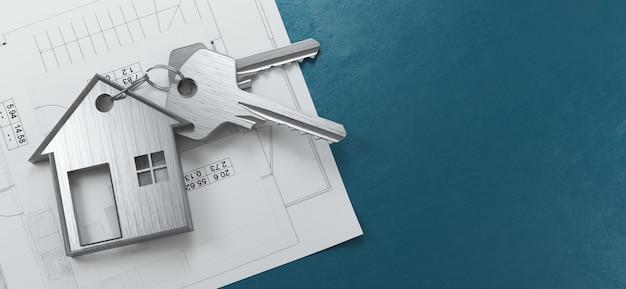 Hypotheek, investeringen, onroerend goed en onroerend goed concept - close-up van huissleutels. 3d-rendering illustratie