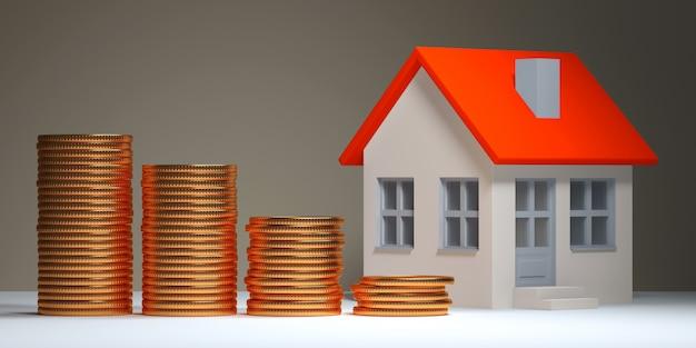 Hypotheek, onroerende goederen investering, en bezitsconcept - sluit omhoog huismodel en stapels van gouden muntstukken 3d illustratie