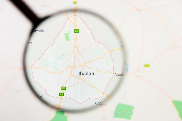 Ibadan, nigeria stad visualisatie illustratief concept op het beeldscherm door vergrootglas