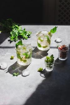 Ice green tea met melissa en kruisbes en ijsblokjes